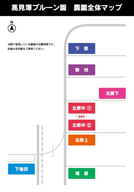 高見澤プルーン園全体マップ